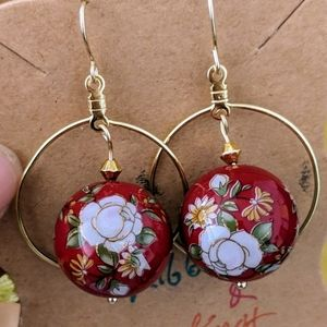 Chinese red bead hoops earrings